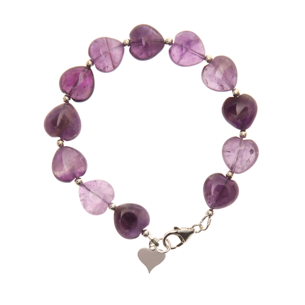 Amethyst Handmade Heart Bracelet In Sterling Silver - Kelvedon Collection