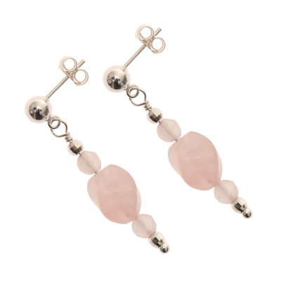 Rose Quartz Handmade Earrings in Sterling Silver - Astbury Collection