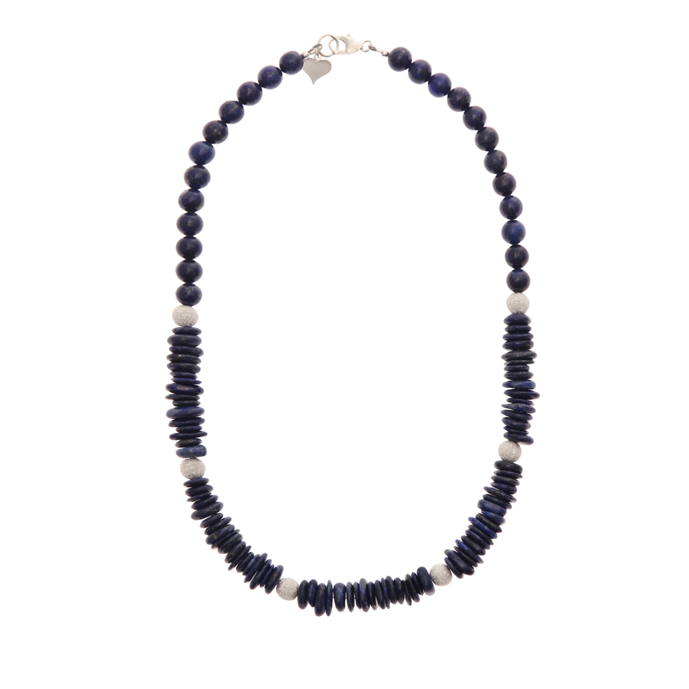 Lapis Lazuli Fancy Slice Handmade Necklace Sterling in Silver - Trevia Collection